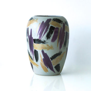 WEST GERMAN POTTERY Vase by Scheurich, Bold 1980s Design, Tall Vase 509-23, Made in Germany, Gold, Metallic Purple and Black
