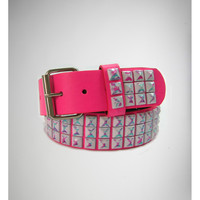 Hot Pink with Paint Wipe Pyramid Stud Belt