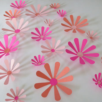 "Shades of Pink Daisies Set, 21 big 3D wall decals, 2-4"" paper flowers, Princess bedroom art, Spring Wedding decorations, bridal shower decor"