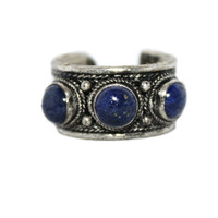 Lapis Adjustable yoga healing ring