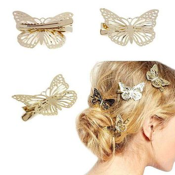 CREYCI7 Fashion Exquisite Metal Hollow out Butterfly shape Hairpins Hair Clips Women Satement Hairwear Accessories Jewelry