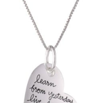 "Sterling Silver ""Live Laugh Love Learn... Hope for Tomorrow"" Heart Pendant Necklace with Flower Charm, 18"""