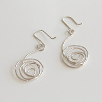 Sterling Silver Wire Wrapped Dangle Circle Earrings,Christmas Gift Ideas,October Trends,November Trending, Womens bridal bridesmaid earrings