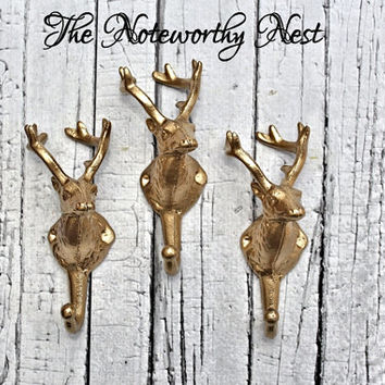 Unique Deer Head Wall Hook // Gold Deer Head // Cast Iron Wall Hook // Cottage Decor // Iron Coat Hook // Christmas Stocking Holder