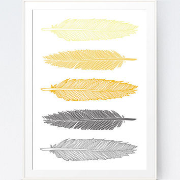 Grey Gray Yellow Feather Print, Mustard and Gray Feather Art, Gold and Grey Wall Art, Home Wall Art Feathers, INSTANT DOWNLOAD