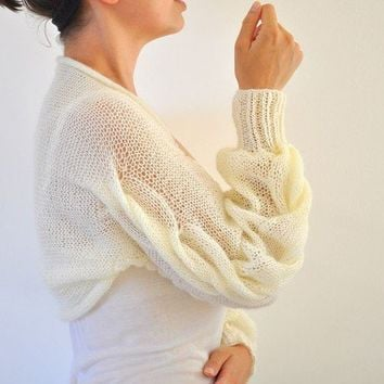 Shrug Bolero Bridal Shrug Ivory Cream Long by reflectionsbyds