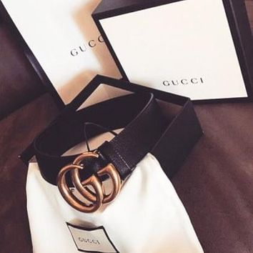 GUCCI Popular Women Men Stylish Smooth Buckle Belt Leather Belt+Gift Box Black I/A