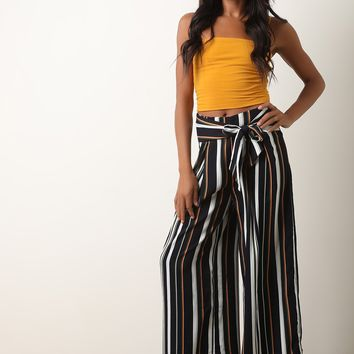 Vertical Striped Waist Sash Palazzo Pants