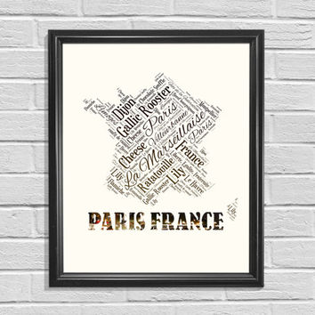 Paris France Printable, Word Cloud Printable, Map Printable, Map of France, Printable Art