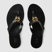 Gucci GG Thong patent leather sandal