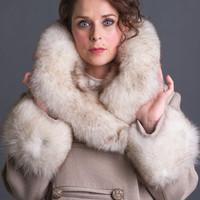 Vintage 1960s double breasted princess cut coat with fox fur trim by Romay, XL