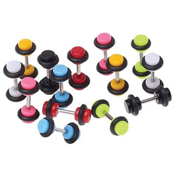 BodyJ4You Lot of 14 Pieces Multi-Color Acrylic Fake Plugs Kit 6G Gauges Look (7 Pairs)