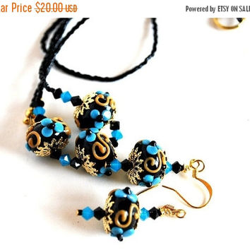 ON SALE Teal Dots on Black Bead Necklace and Matching Earrings, Handmade Jewelry Set, Handmade Beads