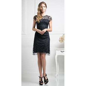 Semi Formal Knee Length Lace Black Dress Short Sleeve