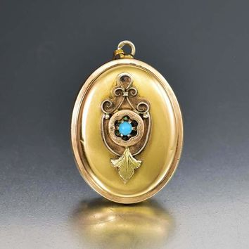 Antique Turquoise, Engraved Gold and Rose Gold Locket