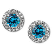 B. Brilliant Sterling Silver Earrings, London Blue Cubic Zirconia Stud Earrings (3 ct. t.w.)