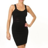 Sexy Clubwear Dress Black Strap Criss Cross Open Back Knitted Mini Dress