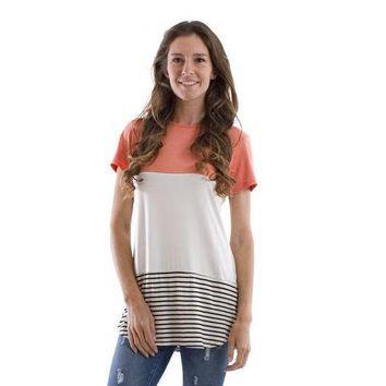 Spring Color Block Striped Tunic