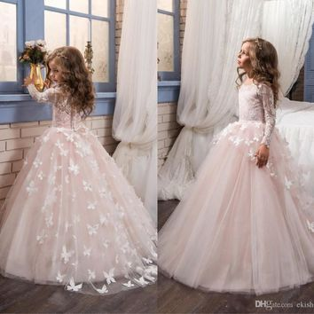2017 Cheap Little White Long Sleeves Lace Flower Girl' Dresses Tulle Lace Applique Butterfly A Line Little Girls Kids Prom Gowns