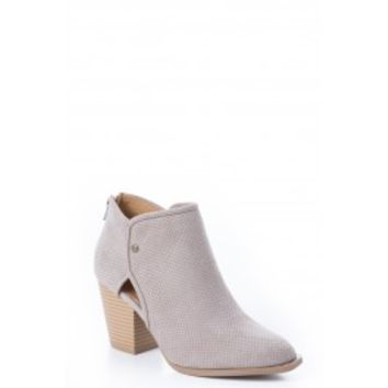 Snap Into It Taupe Ankle Boots