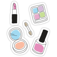 'Makeup stickers powder, nail varnish, eye shadow, lipstick - doodle style' Sticker by Mhea