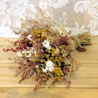 FARMHOUSE Yellow Bridesmaid Dried Flower Bouquet - For a Rustic Country Wedding