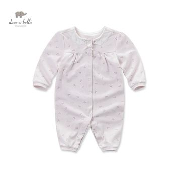 DB4066 davebella autumn new born baby cotton birds printed romper infant clothes girls pink cute floral romper baby 1 piece