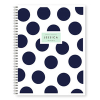 Large Polka Dot Monogrammed Spiral Notebook