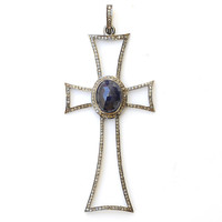 Victorian Pave Diamond Catholic Christian Pendant Cross in Blue Sapphire 3.25""