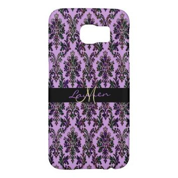 Lavender Purple Gold Glitter Damask Galaxy S6 Case