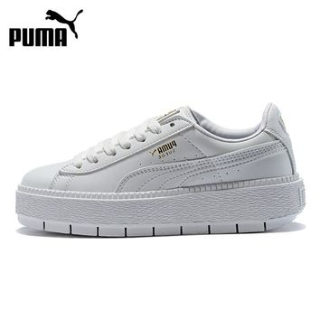 Puma Suede Platform Trace Wn Women's Thick Bottom White Skateboarding Shoes 367260-02