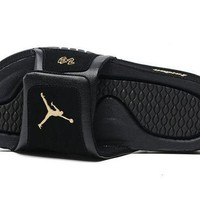 PEAPONVX Jacklish Black Gold Jordan Hydro 2 Retro Sandals For Sale