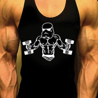 Starwars Mens Workout Shirt, Racerback Tank, Bodybuilding Muscle Shirt, Stormtropper, Gym Tank, Gym Shirt, Workout Shirt, Mens Fitness Tank