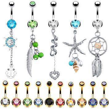 BodyJ4You 15 Belly Button Rings Dangle Barbells 14G Multicolor Surgical Steel CZ Navel Body Jewelry