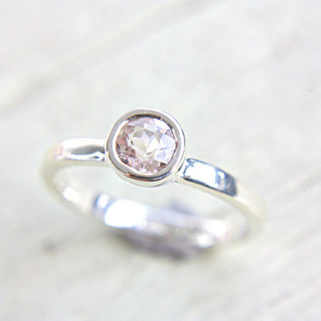 Morganite Engagement Ring Light Pink Morganite Ring Alternative Diamond Morganite Sterling Silver Ring Stacking Promise Ring Size 7