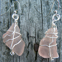 Beach Jewels. Wire Wrapped Sea Glass Earrings. Rare Frosted Bisque Pink and Silver Sea Glass Earrings