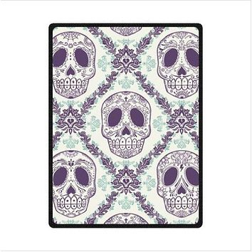 Blanket sugar skull Fleece Blankets Throws Size 60x80inch 50X80inch 50X60inch 40X50inch