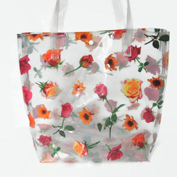 90s Clear Vinyl Purse Transparent Floral Rose Print Tote Club Kid Purse Novelty Sunflowers See Through Plastic Kawaii Kitsch Bag