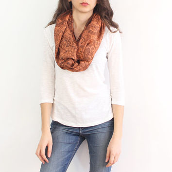 Infinity scarf,rust orange pashmina loop scarf, paisley multiple options shawl