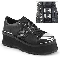 Grave Digger 02 Black Chrome Toe Men's Goth Platform Shoe