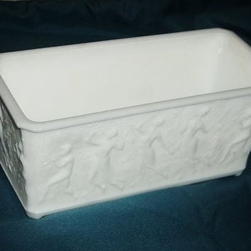 Vintage LE SMITH Dancing Nudes Planter, Milk Glass
