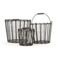 "Eclipse Home Collection Set of Three Wire Baskets Small: 8.75"" H x 10.5"" Dia. · Medium: 13.25"" H x 14.5"" Dia. · Large: 15.25"" H x 18"" Dia."