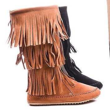 Cherokee03 By Nature Breeze, Round Toe Mid Calf Layered Fringe Boots