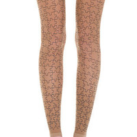 Full Puzzle Print Sheer Footless Tights body color & Black - TrendyLegs