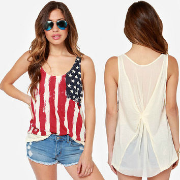 Women American Flag Tank Top USA Patriotic Print Camisole T Shirt