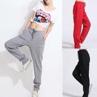 Cotton Yoga Pants Capris  Korean Style  Casual Drawstring Sweatpant Sports Harem Trousers