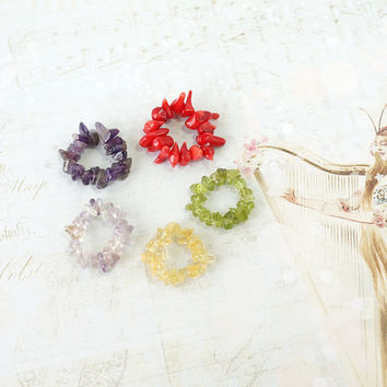 Stone Chips Rings, Best Friends Rings, Amethyst, Ametrine, Coral, Citrine, Peridot, Chips Stone Jewelry