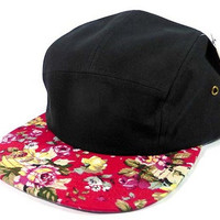 Black/ Bright Red Floral 5 Panel Hat