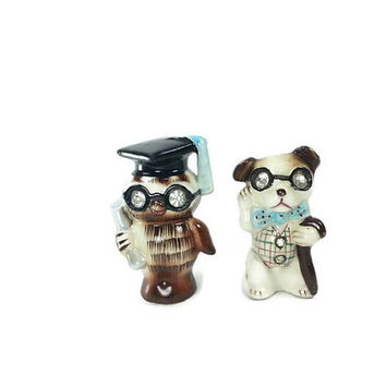 1950's Lefton Rhinestone Eyed Owl Dog Salt & Pepper Shakers, Jewel Eyes, Vintage Home Kitchen Decor, Collectable Display, Unique Gift Idea
