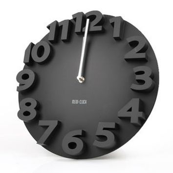 3D numbers mute creative wall clock for home decor